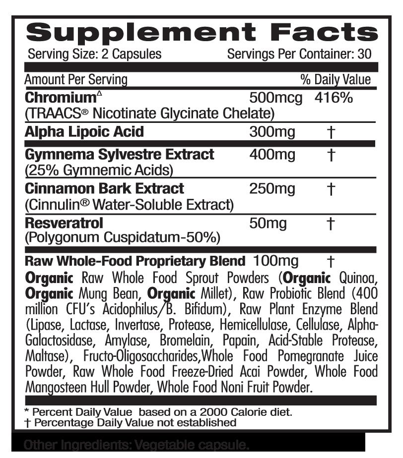 Ultra Botanicals Blood Sugar Supp Facts