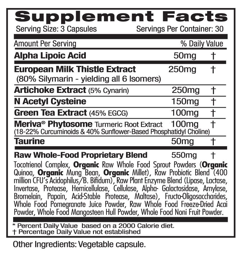 Ultra Botanicals Liver Health Supp Facts
